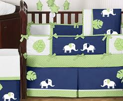 jojo design modern navy blue lime green white elephant baby