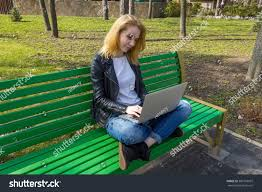 Turkish Bench Woman Sitting On Bench Laptop Turkish Stock Photo 506103997