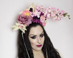 floral headdress wooden with colorful floral headdress