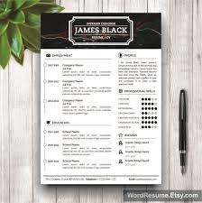 unisex resume template and cover letter portfolio u2013 u201cjames black u201d