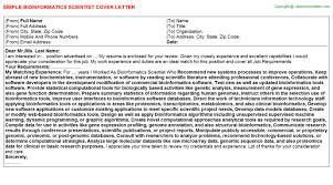 bioinformatics scientist cover letter