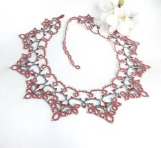 pink collar necklace images Romantic lace collar necklace pink grey filigree bib necklace jpg