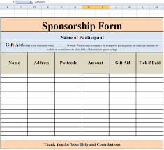 Excel Forms Template Free Sponsorship Form Template Word Excel Pdf Sles Daily