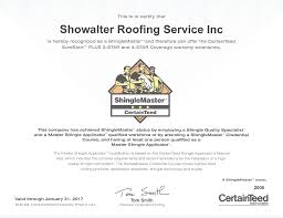 awards u0026 certifications showalter roofing service