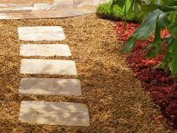 landscaped stone walkway square tile stepping stones create a