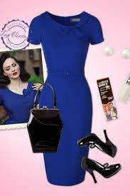 topvintage exclusive 50s megan pencil dress in royal blue