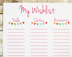 my wish list birthday wishlist etsy