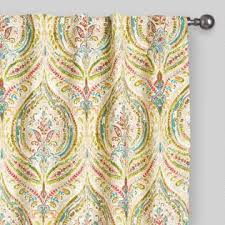 Tab Curtains Pattern Multicolor Ogee Concealed Tab Top Curtains Set Of 2 The Nest