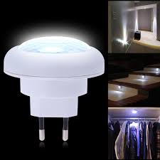 motion sensor night light plug in abs plastic white energy saving led light round 8 led body motion