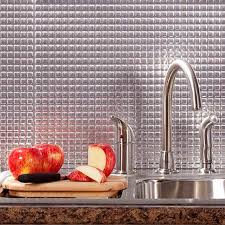 fasade backsplash square in brushed aluminum