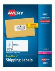 avery trueblock white laser shipping labels 2 x 4 pack of 2500 by