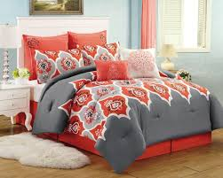 bedroom navy blue and orange comforter sets orange grey