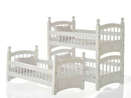 doll triple detachable bunk bed with pink and white striped linens