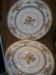 vintage rio stoneware japan pink with blue trim 2 dinner plates