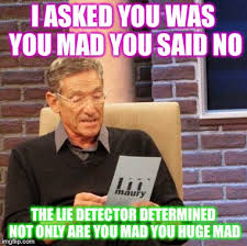 Mad At You Meme - maury lie detector meme imgflip