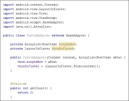 android layoutinflater the custom adapter class