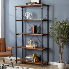 Iron And Wood Bookcase Rustic Bookcases You U0027ll Love Wayfair