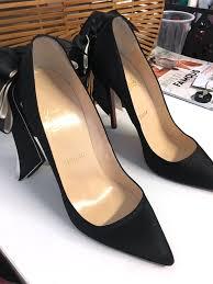 christian louboutin anemone black satin stiletto pumps high