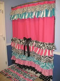 Zebra Valance Curtains Shower Curtain Cascading Ruffles Custom Designer Fabric Black Pink