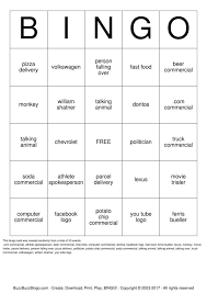 fast food bingo cards to download print and customize