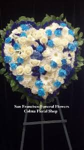 Order Flowers San Francisco - blue and white medley solid heart san francisco funeral flowers