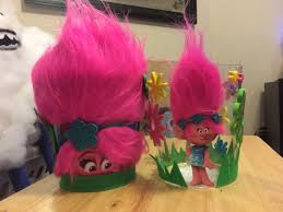 centerpiece for a trolls themed birthday party trolls birthday