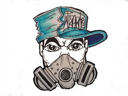 drawing a gas mask character with spraycans by wizard sketch it