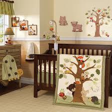 baby nursery neutral baby room decoration with dark brown wooden
