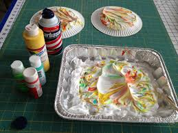 shaving cream painting for marbled paper jumbo jibbles
