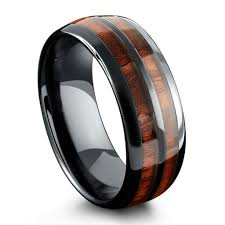 mens wooden wedding bands barrel ceramic koa wood ring northernroyal