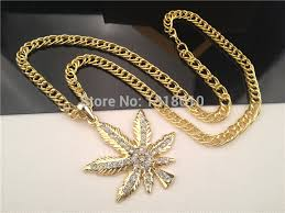 leaf chain necklace images New gold weed marijua leaf pot aaa rhinestone pendant necklace jpg