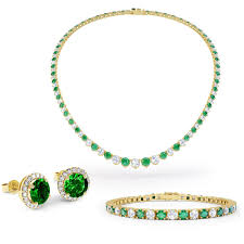 emerald gold necklace images Eternity emerald 18ct gold vermeil jewellery set with necklace jpg