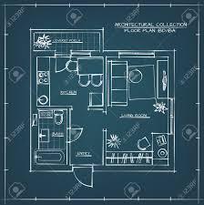 blueprint floor plan architectural hand drawn floor plan blueprint one bedroom apartment