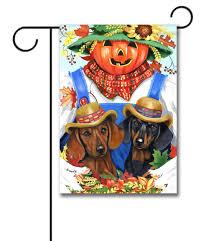 Fall Garden Flag Dachshund Fall Scarecrow Garden Flag 12 5 U0027 U0027 X 18 U0027 U0027 Custom