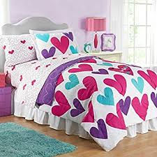 Purple And Teal Bedding Amazon Com Girls 5pc Twin Size Pink Purple Blue Hearts 100