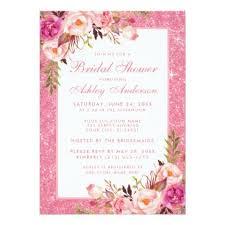 wedding shower invitations floral pink glitter bridal shower invitation p shower