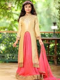 kids wear front zip indowestern top with crush silk lehenga