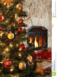 Christmas Livingroom Christmas Tree And Fireplace Royalty Free Stock Photography