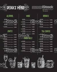 drink menu template free vector illustration bar menu template of restaurant