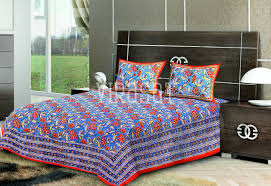 softest affordable sheets blue with red base floral print double bed sheet with two pillow