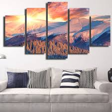 painting wall murals promotion shop for promotional painting wall jermyn 5 piece wall art sunset mountain landscape canvas oil painting unframed poster for living room home decor decals mural