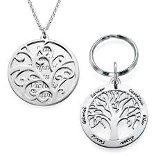 necklace key ring images Silver tree of life keyring necklace set jpg