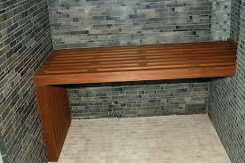 dashing wooden bench closed interesting dark wall front small tile