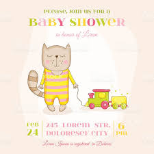 baby cat with a train baby shower card stock vector art