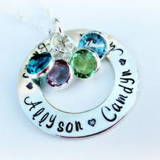 Mom Necklace With Kids Names Mom Necklace With Birthstone And Name Necklaces U0026 Pendants