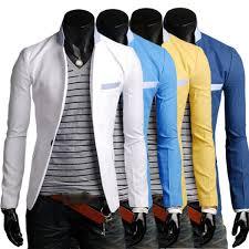 men blazer formal one button suit coat casual slim fit jacket