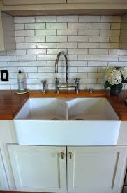 countertops farmhouse best double bowl kitchen sinks with butcher