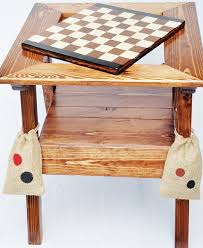 reclaimed wood game table chess backgammon checkers table outdoor game table reversible