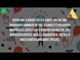 what is a biographical sketch youtube