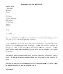 resignation letter resignation letter with two weeks notice